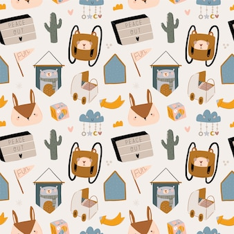 Cute kids scandinavian characters seamless pattern with trendy quotes