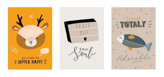 トレンディな引用やクールな動物の装飾的な手描きの要素を含むかわいい子供たちのスカンジナビア文字セット。ベビーシャワー、保育室の装飾、子供のデザインの漫画落書きイラスト。