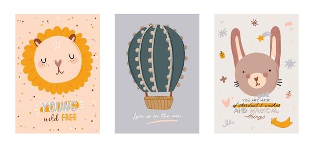 유행 따옴표와 멋진 동물 장식 손으로 그린 요소를 포함하여 귀여운 아이 스칸디나비아 문자 세트. 베이비 샤워, 보육실 장식, 어린이 디자인을위한 만화 낙서 그림.