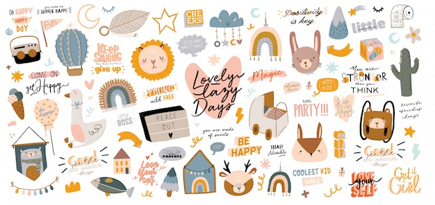 Cute kids scandinavian characters set including trendy quotes and cool animal decorative hand drawn elements.
