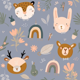 Cute kids scandinavian seamless pattern with funny animals, kids mobile toys, beanbag, leaves, flowers. cartoon doodle illustration for baby shower, nursery room decor, children design. .