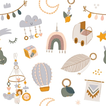 変な動物、子供携帯玩具、ビーンバッグ、葉、花とかわいい子供たちのスカンジナビアのシームレスパターン。ベビーシャワー、保育室の装飾、子供のデザインの漫画落書きイラスト。 。