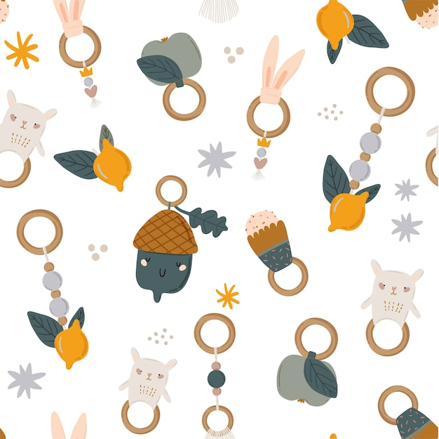 Cute kids scandinavian seamless pattern with funny animals, kids mobile toys