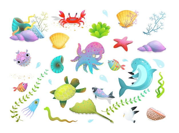Cute kids sea creatures set: dolphin, sea star, fishes and squid, crab and other amusing underwater creatures. cartoon.