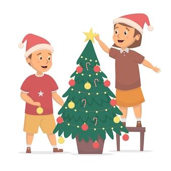 かわいい子供たちはクリスマスツリーのイラストを設定します