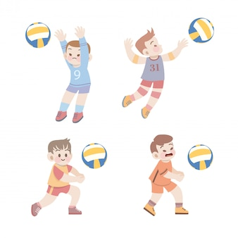 Cute kids sport volleyball illustration set