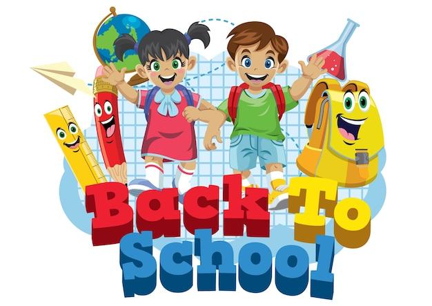 Cute kids student and school supplies cartoon