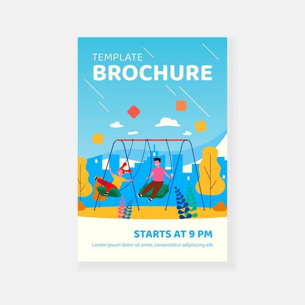 Cute kids swinging, enjoying and laughing brochure template