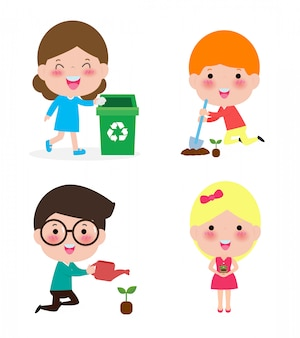 Cute kids volunteer. children collect rubbish for recycling. a child plants trees.