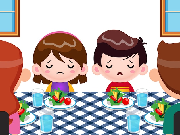 Cute kids not want to eat vegetables