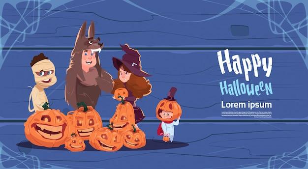 Cute kids wear monsters costume, happy halloween greeting card