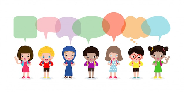 Cute kids with speech bubbles, set of diverse kids and different nationalities with speech bubbles isolated