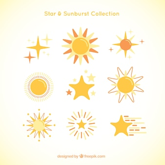 Cute kind of sunburst and stars