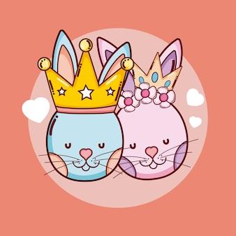 かわいいキングとクラウンの動物の漫画