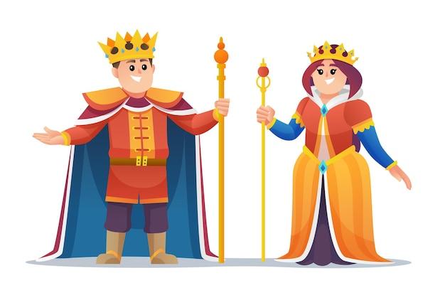 귀여운 왕과 여왕 만화 캐릭터 세트