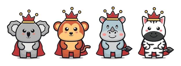 Cute king animal cartoon illustration