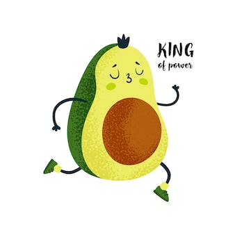 Cute king avocado runner. healthy food