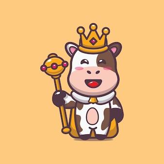 Cute king cow cartoon vector illustration