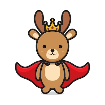 Cute king deer mascot character. design isolated on white background