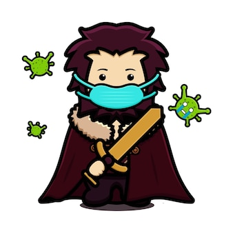 Cute king mascot character wear mask fight against virus cartoon vector icon illustration. design isolated on white. flat cartoon style.