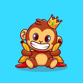 바나나를 들고 귀여운 왕 원숭이