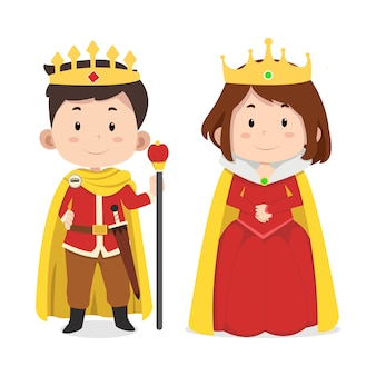 Cute king and queen characters