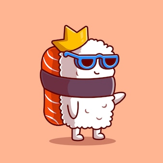 Cute king salmon sushi with glasses cartoon. flat cartoon style