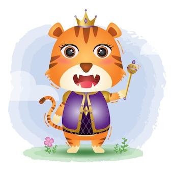 Cute king tiger  illustration