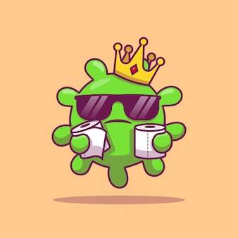 Cute king virus with toilet tissue cartoon   icon illustration. health and virus icon concept isolated  . flat cartoon style