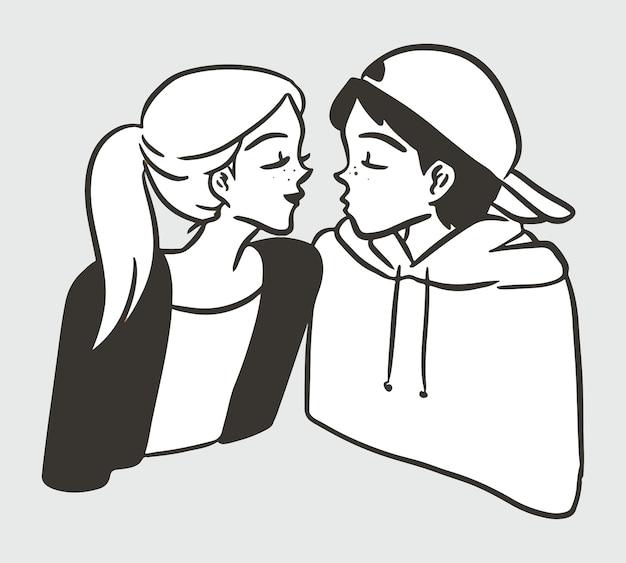 귀여운 키스 젊은 캐릭터 간단한 블랙 화이트 일러스트