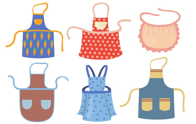 Cute kitchen aprons with patterns flat item set. cartoon cooking dress for housewife or chef of restaurant isolated vector illustration collection. protective garment and housekeeping concept