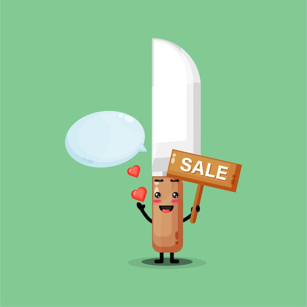 Cute kitchen knife mascot with the sales sign