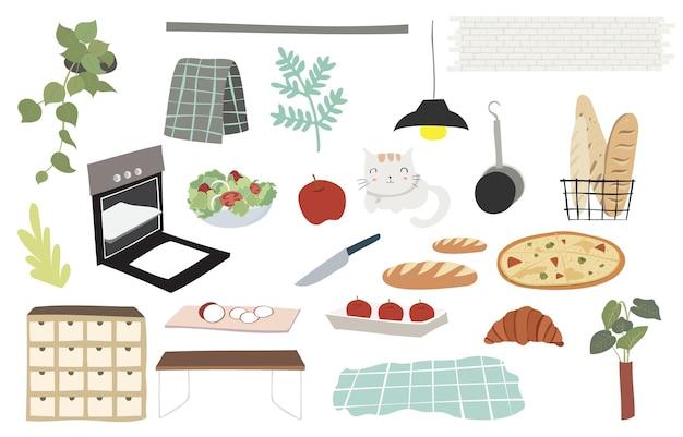 음식, 과일, 아이를 위한 가구가 있는 귀여운 주방 물건