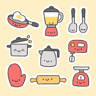 Cute kitchen tools sticker hand drawn cartoon collection