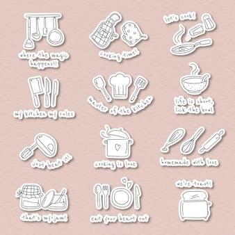 Set di adesivi per scarabocchi di utensili da cucina carini