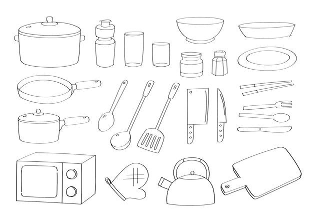 かわいい台所用品の漫画とオブジェクト。キッチン家電。