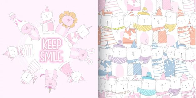 かわいい子猫と豚のシームレスパターン