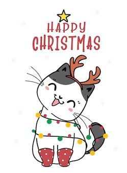 Милый котенок кот рождественский мультфильм с оленьими рогами, meowy catmas, плоские векторные каракули линейные иллюстрации