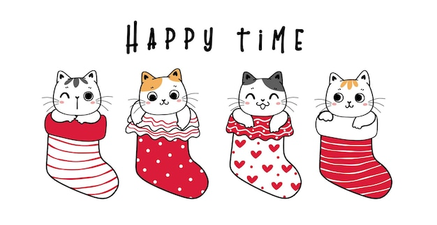 Cute kitten cat friends in red and white christmas socks banner, cute cartoon hand drawn flat vector childlike