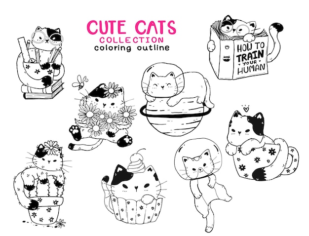 Cute kitten cat outline collection for coloring book