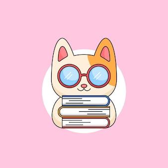 책 책벌레 동물 마스코트 만화 삽화를 들고 괴짜 안경을 쓴 귀여운 새끼 고양이