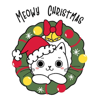 Cute kitten cat with red santa hat in christmas wreath, mewowy christmas childlike cartoon hand drawn doodle flat vector