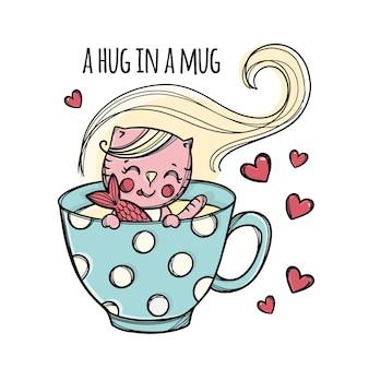 귀여운 새끼 고양이 손으로 컵 만화 손으로 그린 스케치에서 물고기를 잡 았