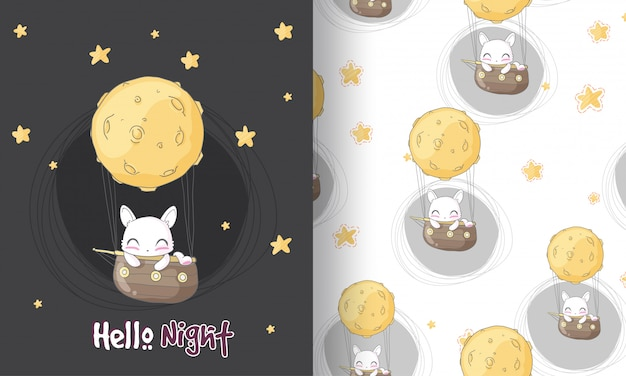 Cute kitten  dreaming seamless pattern illustration for kids
