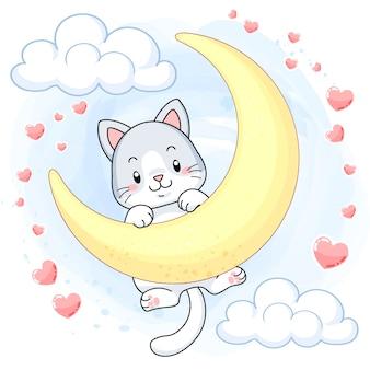 Милый котенок висит на луне