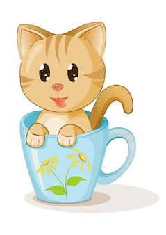 カップコーヒー漫画白のかわいい子猫