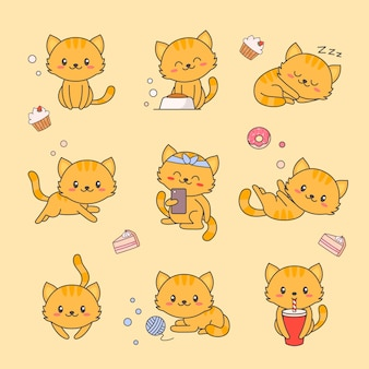 Cute kitten kawaii character sticker set.