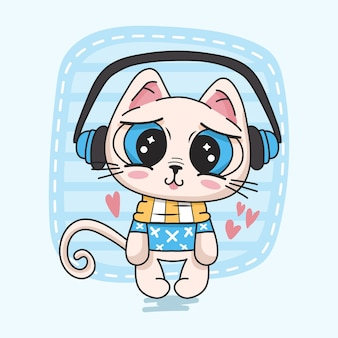 Cute kitten listening to music