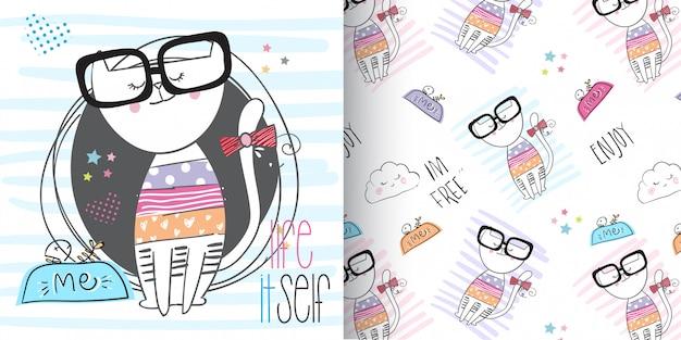 Cute kitten pattern set, hand draw illustration-vector