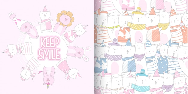 Cute kitten and pig seamless pattern